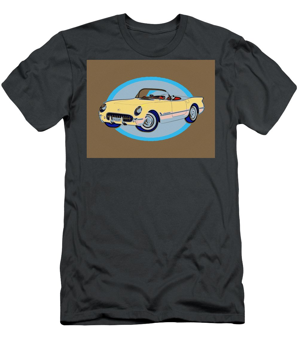 Pin Up Men's T-Shirt (Athletic Fit) featuring the painting Pin Up Vette by Florian Rodarte