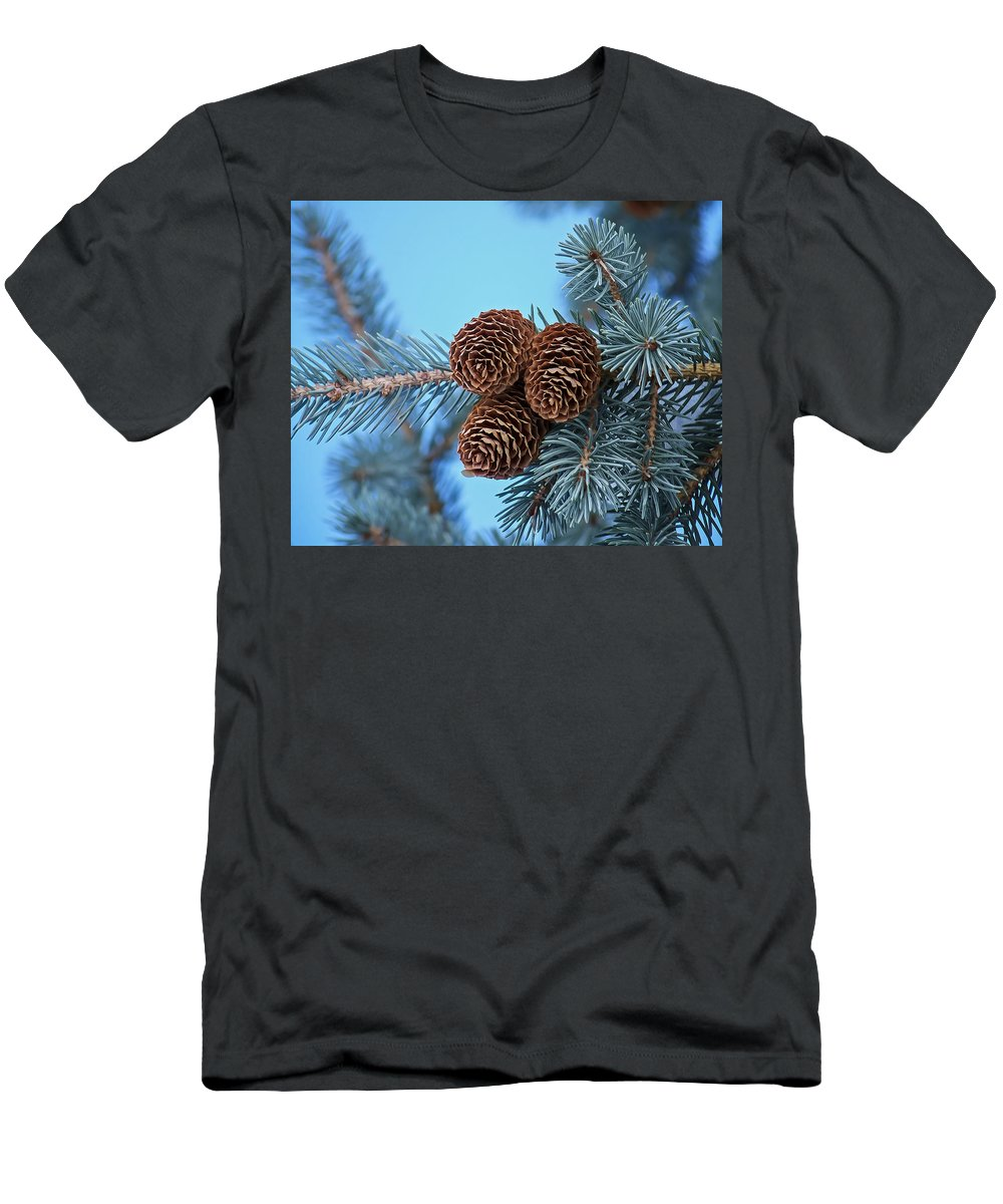 Christmas Men's T-Shirt (Athletic Fit) featuring the photograph Pine Cones by Ernie Echols