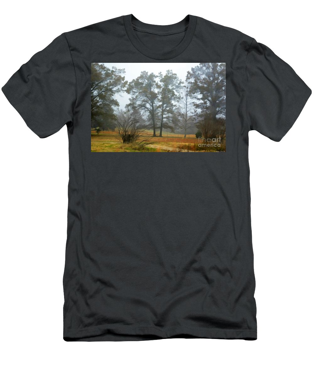 Mist Men's T-Shirt (Athletic Fit) featuring the photograph Pine Trees In Mist - Digital Paint 1 by Debbie Portwood