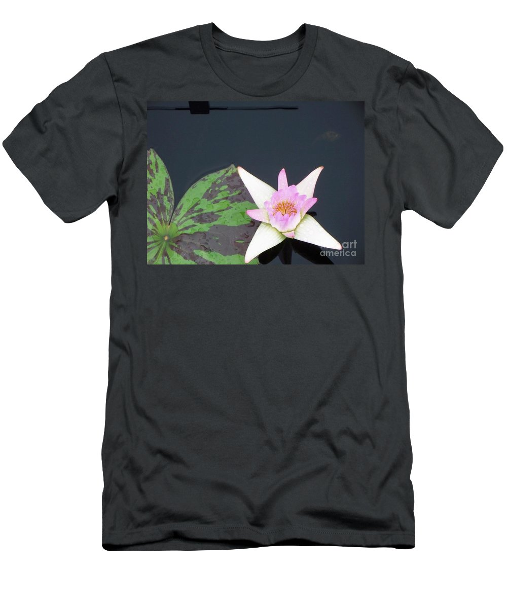 Water Lilies Men's T-Shirt (Athletic Fit) featuring the photograph Pink And White Lily by Eric Schiabor