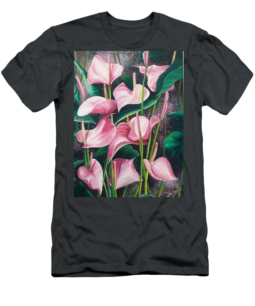 Floral Flowers Lilies Pink Men's T-Shirt (Athletic Fit) featuring the painting Pink Anthuriums by Karin Dawn Kelshall- Best