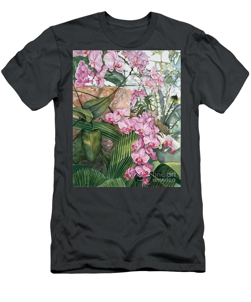 Orchids Men's T-Shirt (Athletic Fit) featuring the painting Pink Orchids by Lisa Prusinski