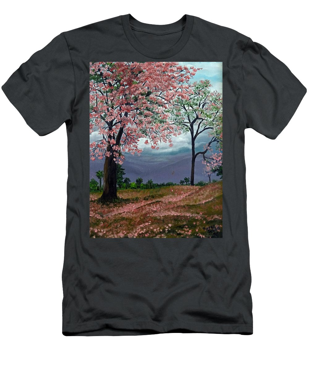 Tropical Pink Poui Tree Men's T-Shirt (Athletic Fit) featuring the painting Pink Poui by Karin Dawn Kelshall- Best