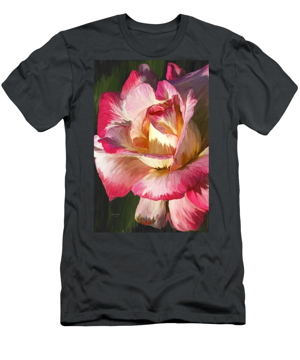 Rose Men's T-Shirt (Athletic Fit) featuring the photograph Pink Rose Painted by Phyllis Denton