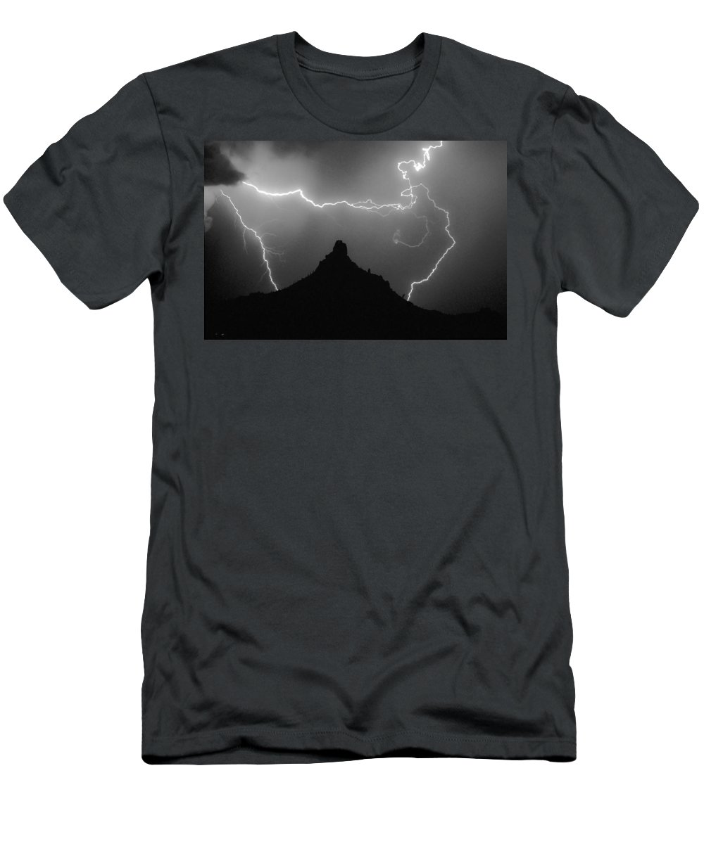 Lightning Men's T-Shirt (Athletic Fit) featuring the photograph Pinnacle Peak Surrounded by James BO Insogna