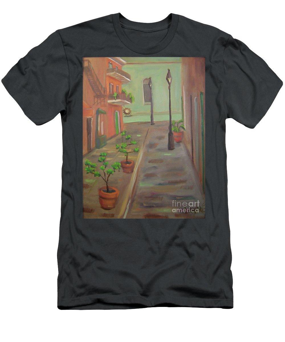 New Orleans Men's T-Shirt (Athletic Fit) featuring the painting Pirates Alley by Lilibeth Andre