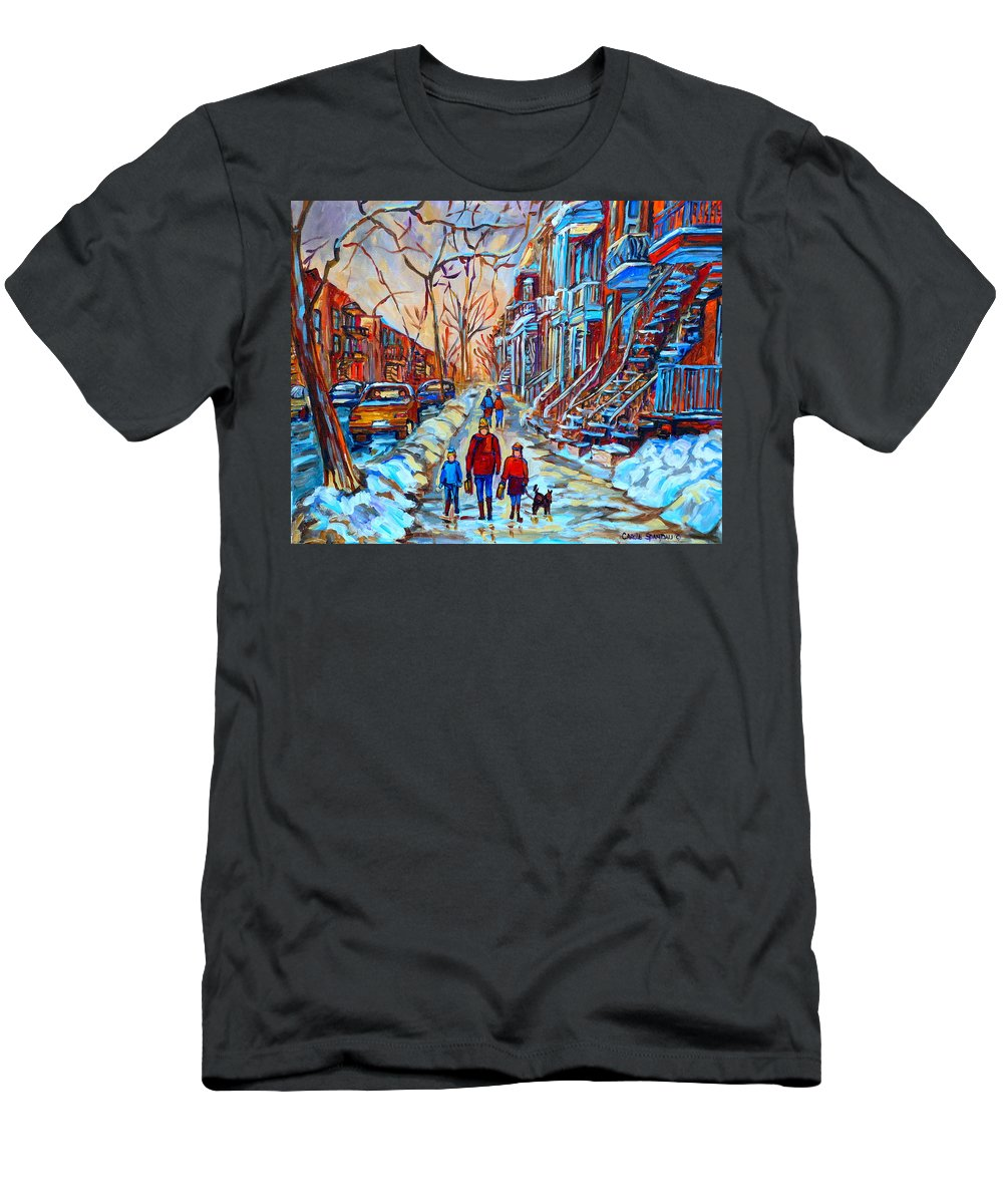 Plateau Montreal Men's T-Shirt (Athletic Fit) featuring the painting Plateau Montreal Street Scene by Carole Spandau
