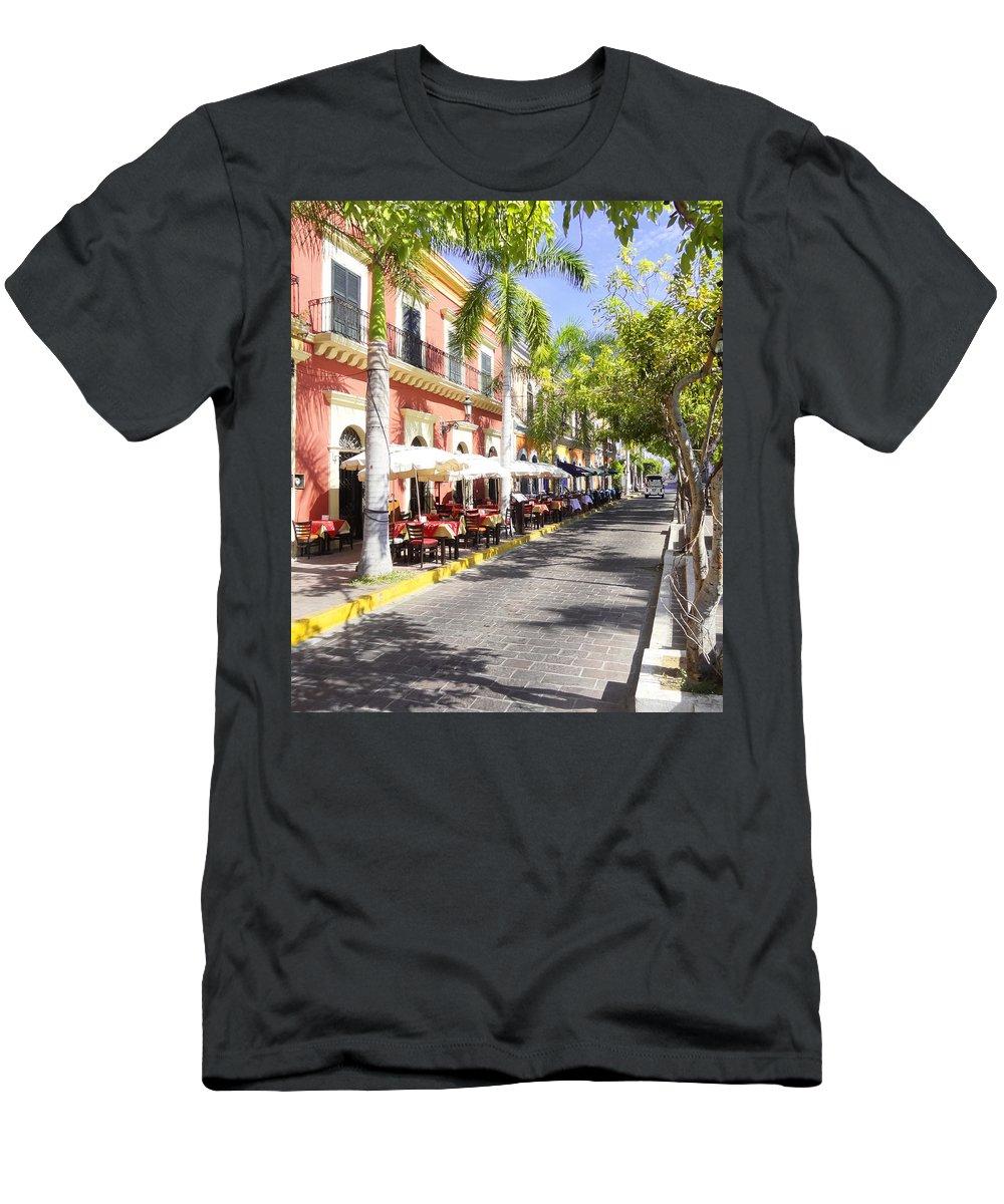 Mazatlan Men's T-Shirt (Athletic Fit) featuring the photograph Plaza Machado Pulmonia by Anne Mott