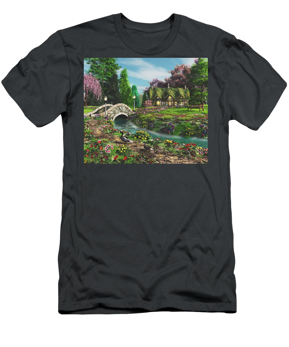 Art Licensing Men's T-Shirt (Athletic Fit) featuring the mixed media Pleasant Journey by Caplyn Dor