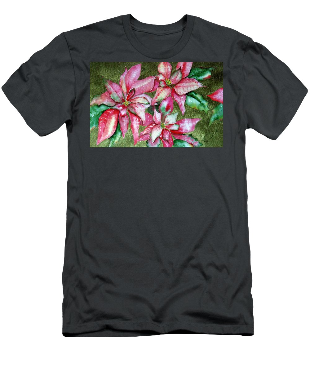 Christmas Men's T-Shirt (Athletic Fit) featuring the painting Poinsettia by Carol Lindquist