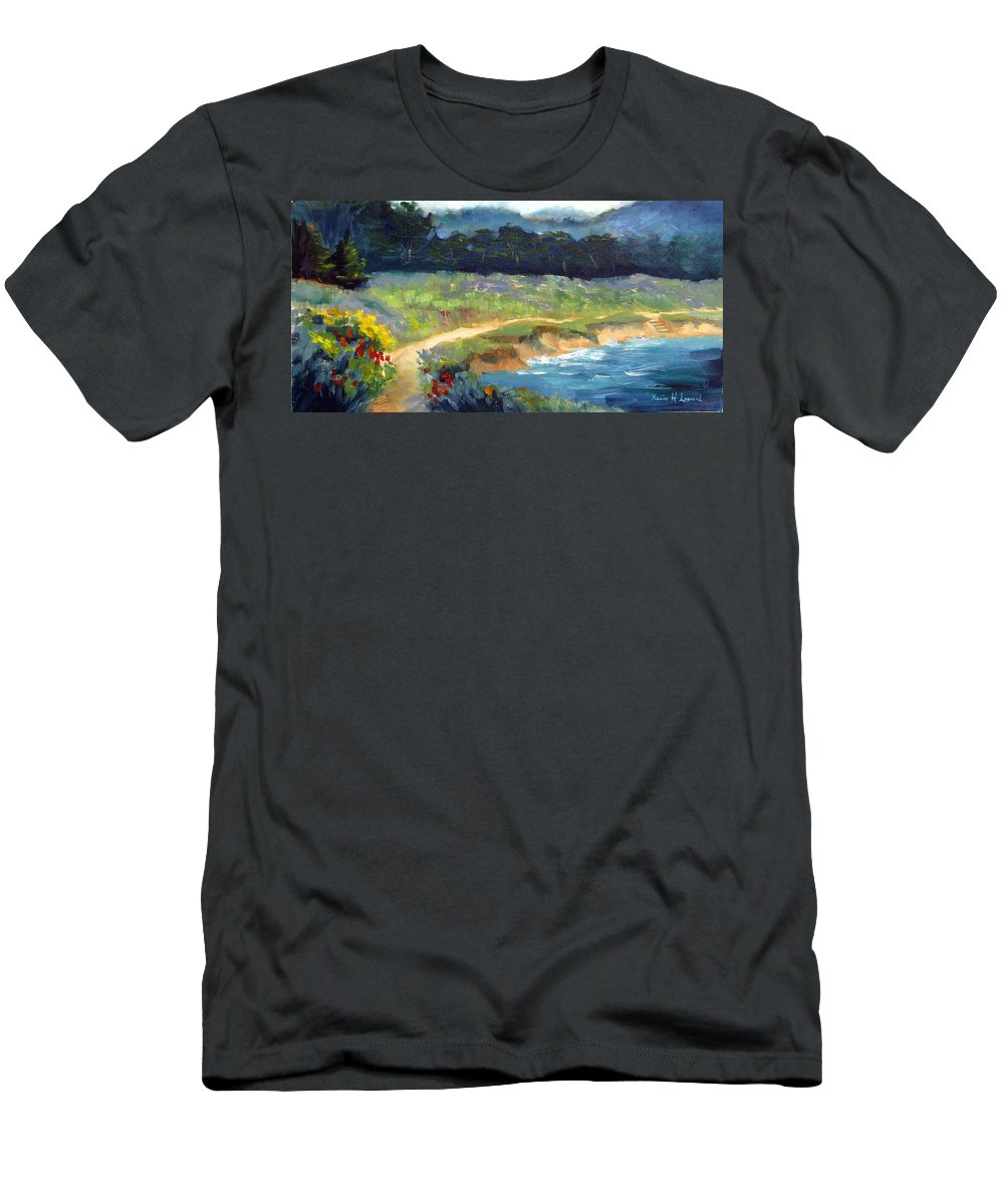 Point Lobos Men's T-Shirt (Athletic Fit) featuring the painting Point Lobos Trail by Karin Leonard