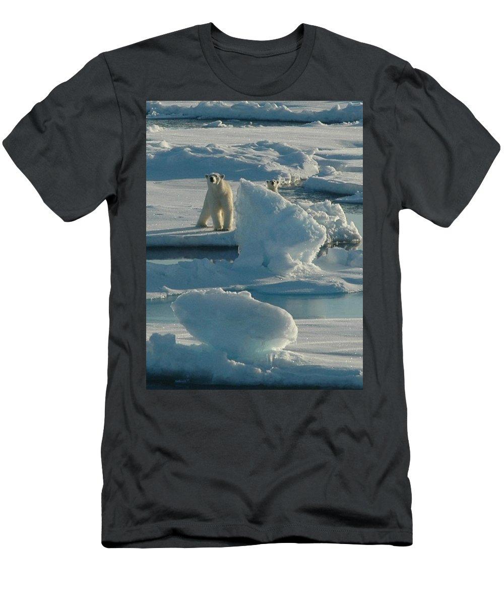Kelley Elliott Men's T-Shirt (Athletic Fit) featuring the digital art Polar Bear And Cub by Kelley Elliott