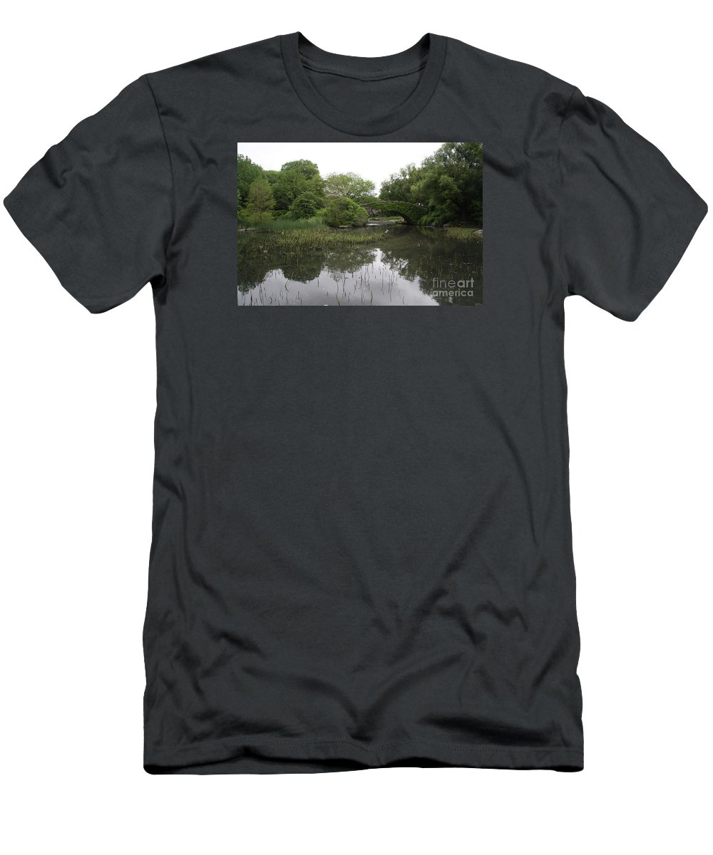 Pond Men's T-Shirt (Athletic Fit) featuring the photograph Pond And Bridge by Christiane Schulze Art And Photography
