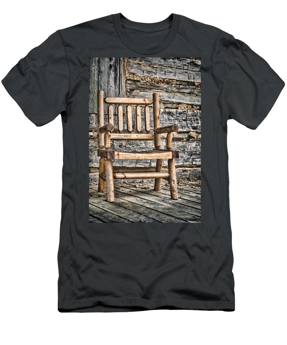 Wooden Men's T-Shirt (Athletic Fit) featuring the photograph Porch Chair by Heather Applegate