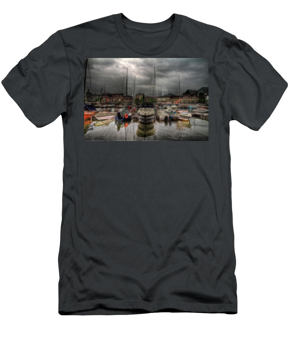 Boat Men's T-Shirt (Athletic Fit) featuring the photograph Port At Como Lake by Roberto Pagani