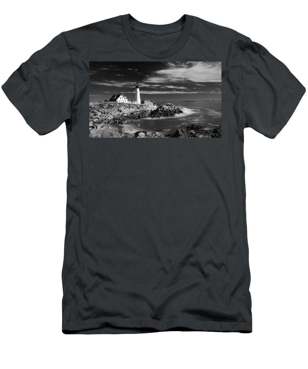 Atlantic Ocean Men's T-Shirt (Athletic Fit) featuring the photograph Portland Head Light 19482b by Guy Whiteley