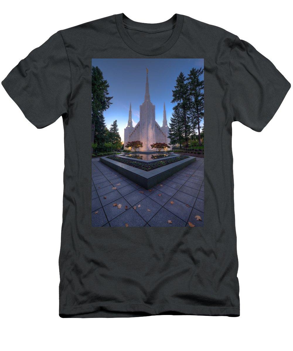 Temple Men's T-Shirt (Athletic Fit) featuring the photograph Portland Temple by Dustin LeFevre