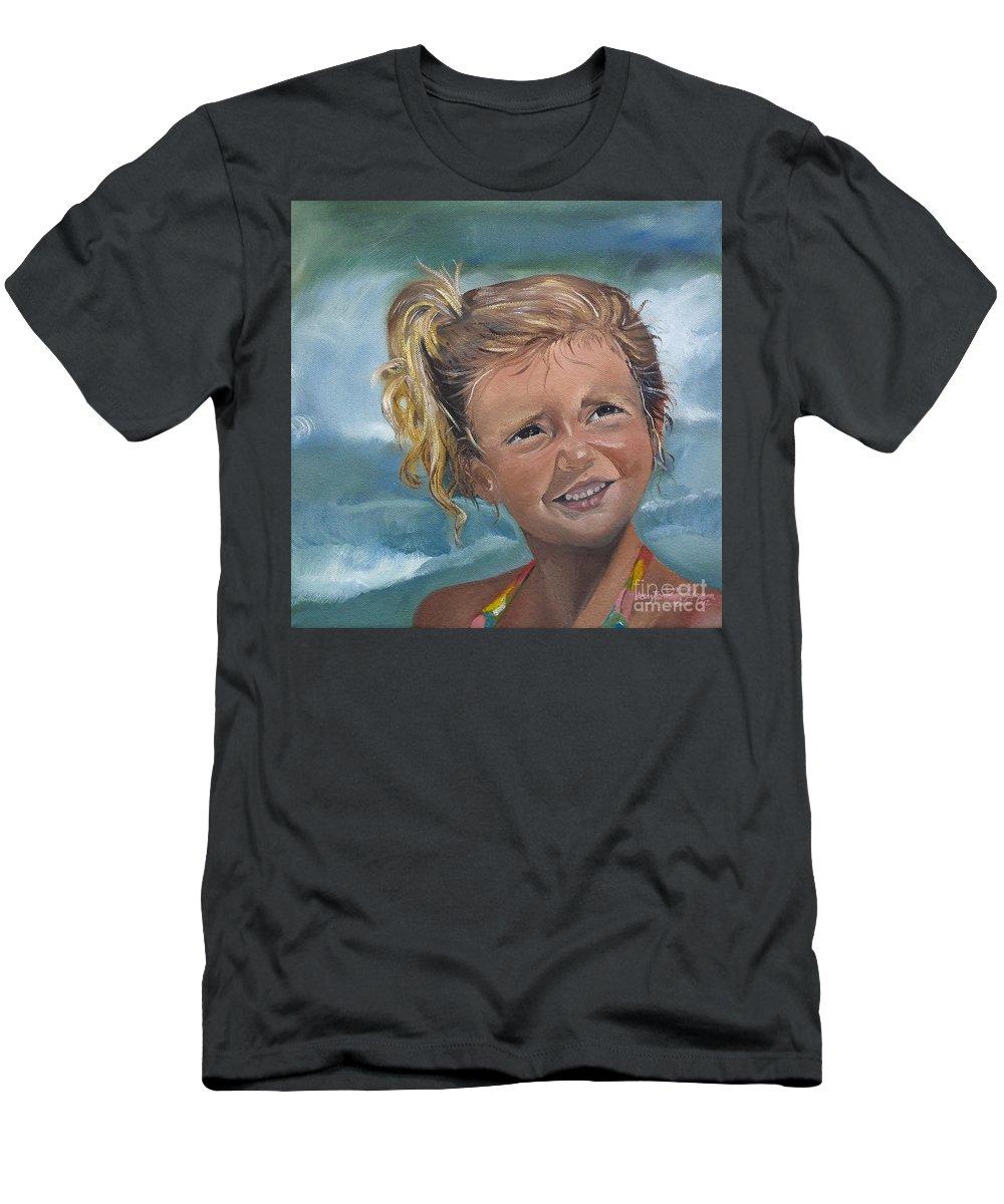 Portrait Men's T-Shirt (Athletic Fit) featuring the painting Portrait - Emma - Beach by Jan Dappen