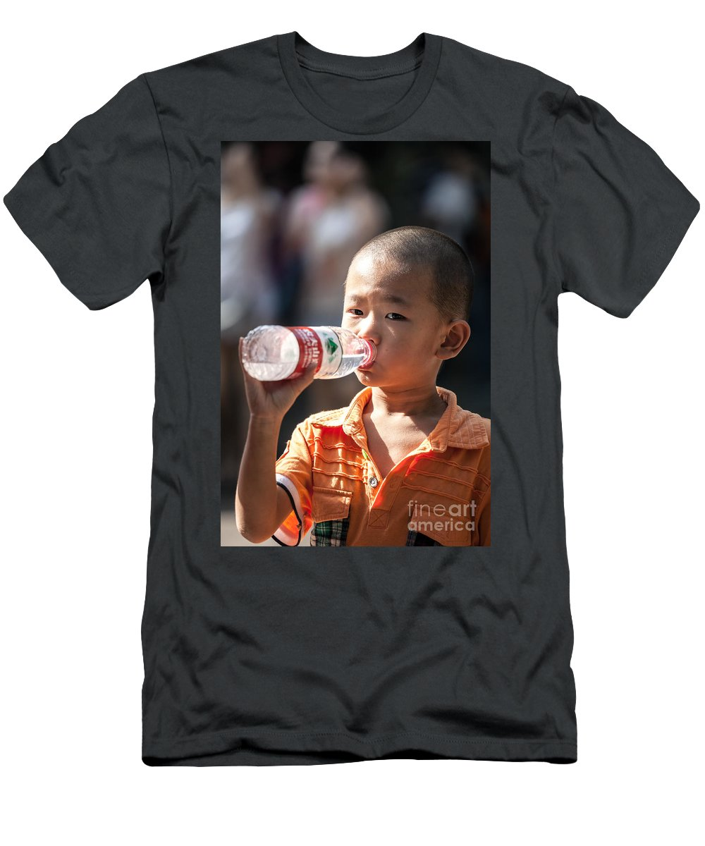 Child Men's T-Shirt (Athletic Fit) featuring the photograph Portrait Of Chinese Child In Xian China by Matteo Colombo