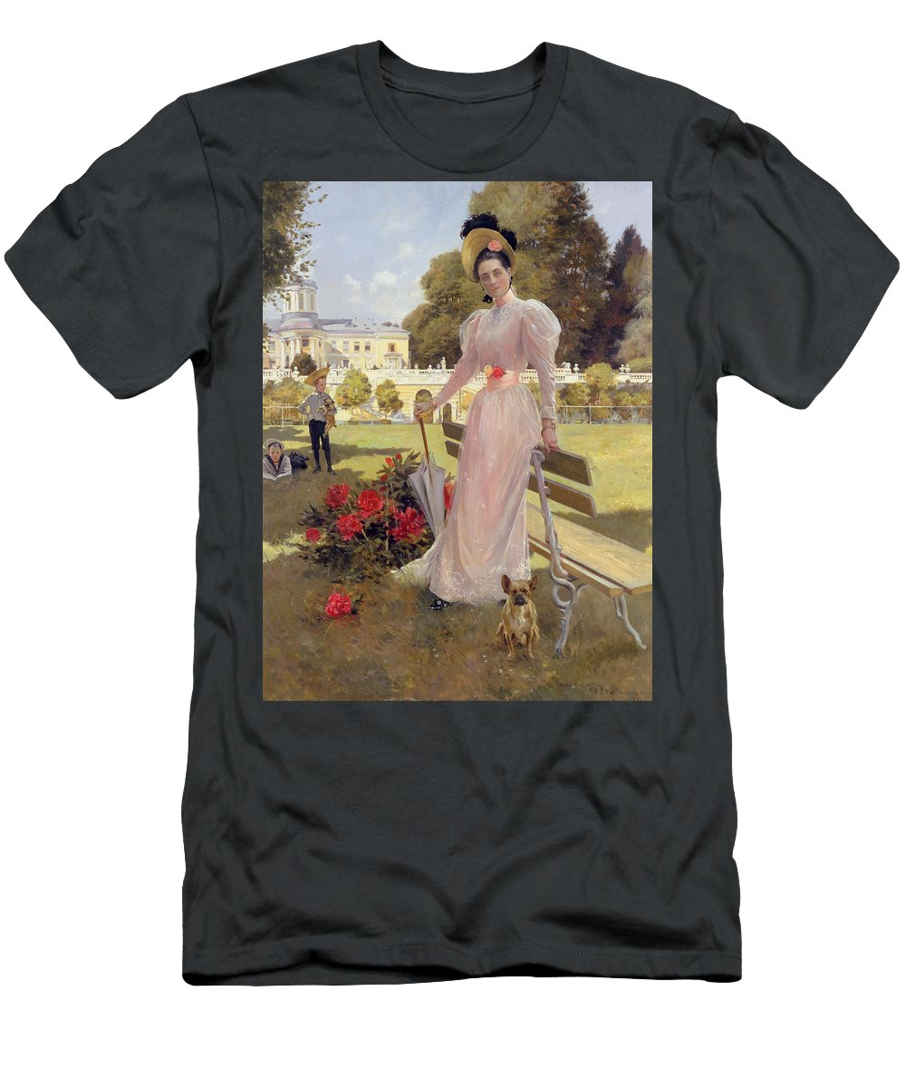 Female Men's T-Shirt (Athletic Fit) featuring the painting Portrait Of Princess Z.n Yusupova With Her Two Sons At Arkhangelskoe by Francois Flameng