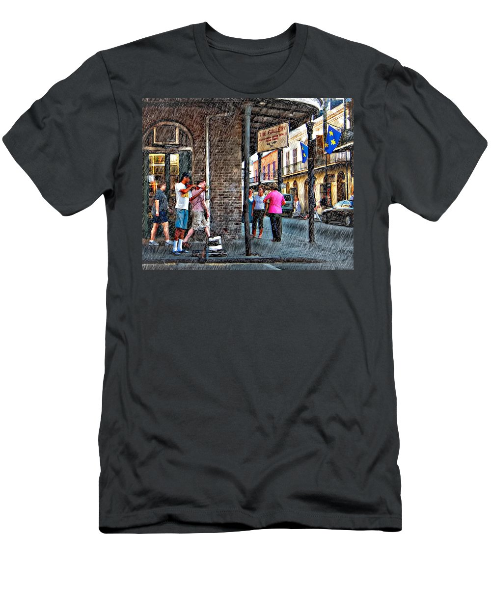 New Orleans Men's T-Shirt (Athletic Fit) featuring the photograph Portrait Of The Street Musician Sketch by Steve Harrington