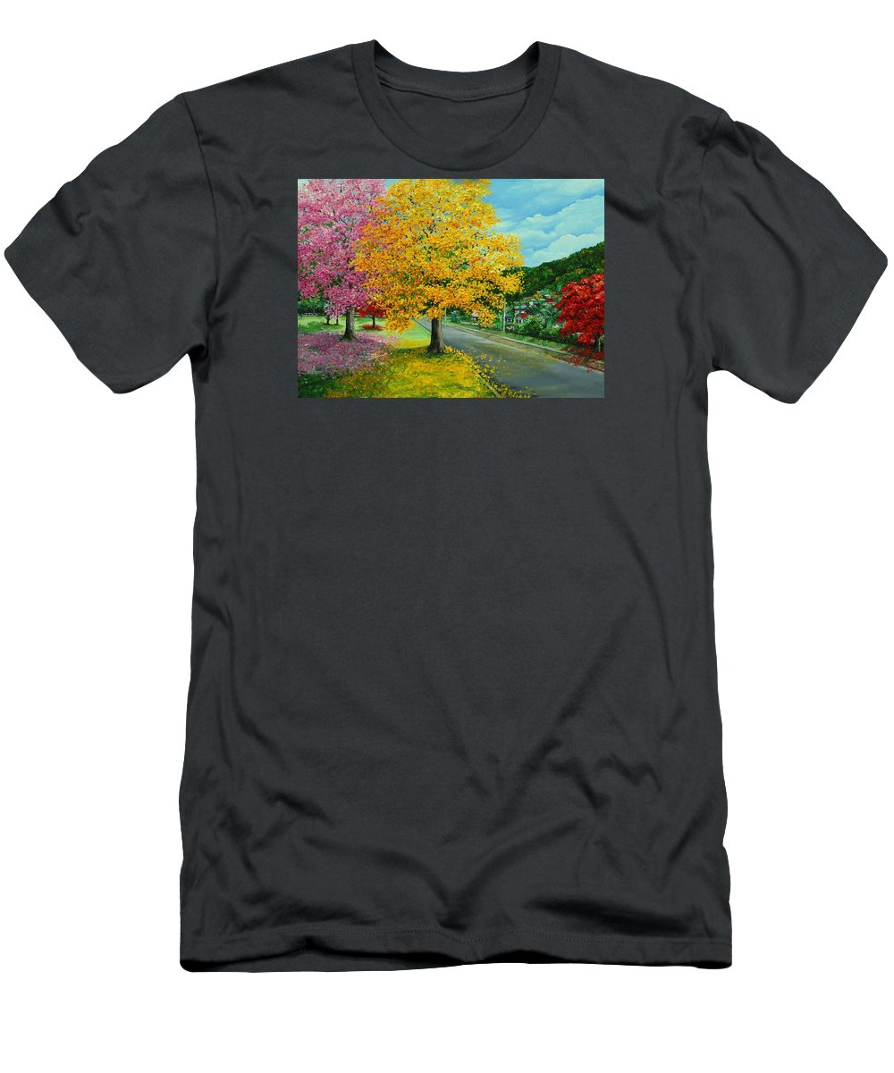 Poui Trees T-Shirt featuring the painting Poui In Diego by Karin Dawn Kelshall- Best