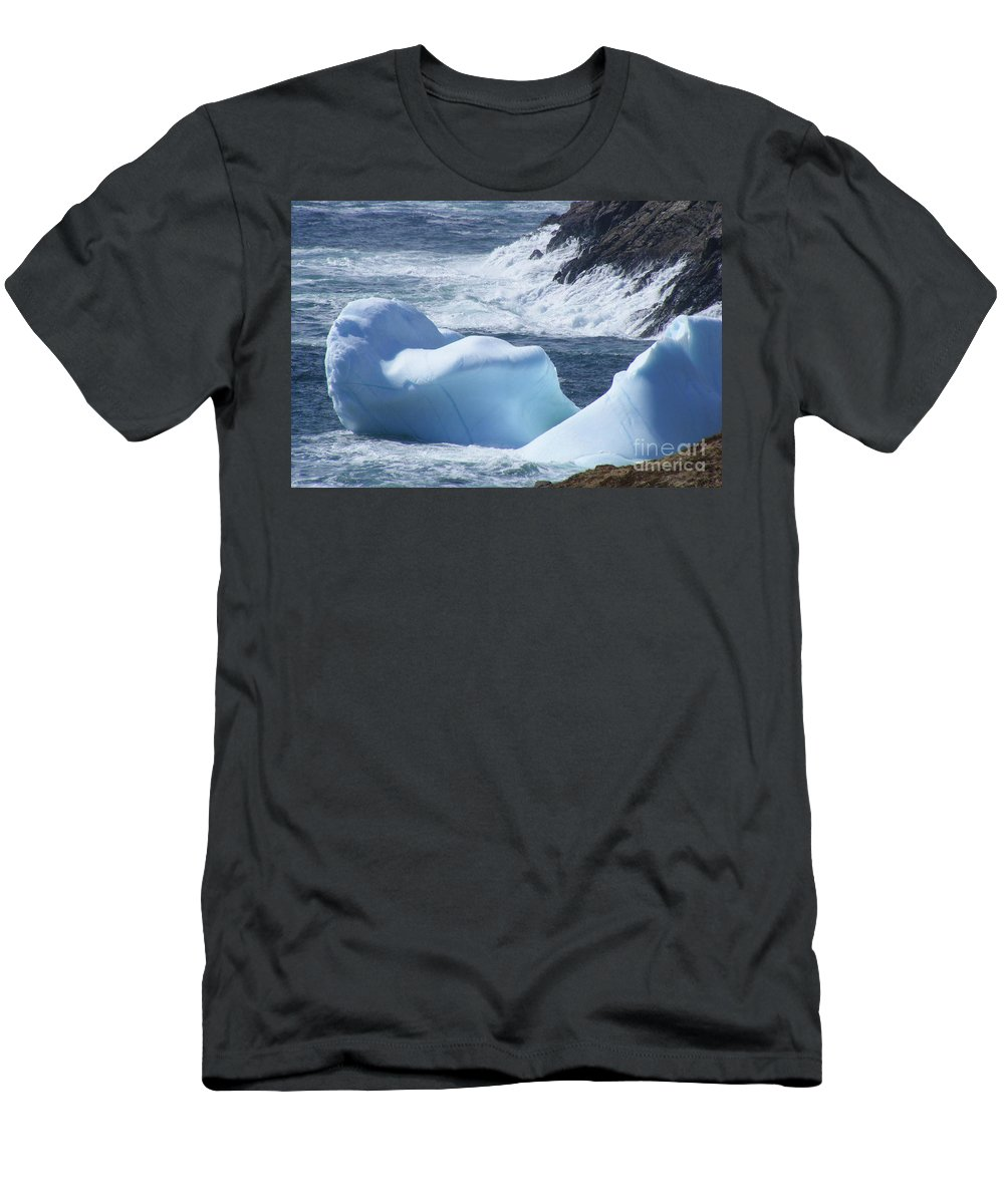 Pounding Surf Men's T-Shirt (Athletic Fit) featuring the photograph Pounding Surf With Icebergs by Barbara Griffin