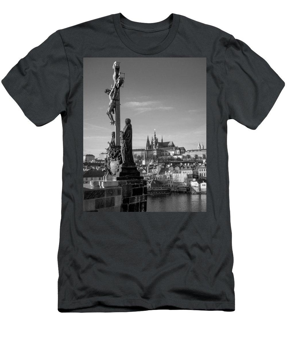 Prague Men's T-Shirt (Athletic Fit) featuring the photograph Prague Castle by Shirley Radabaugh