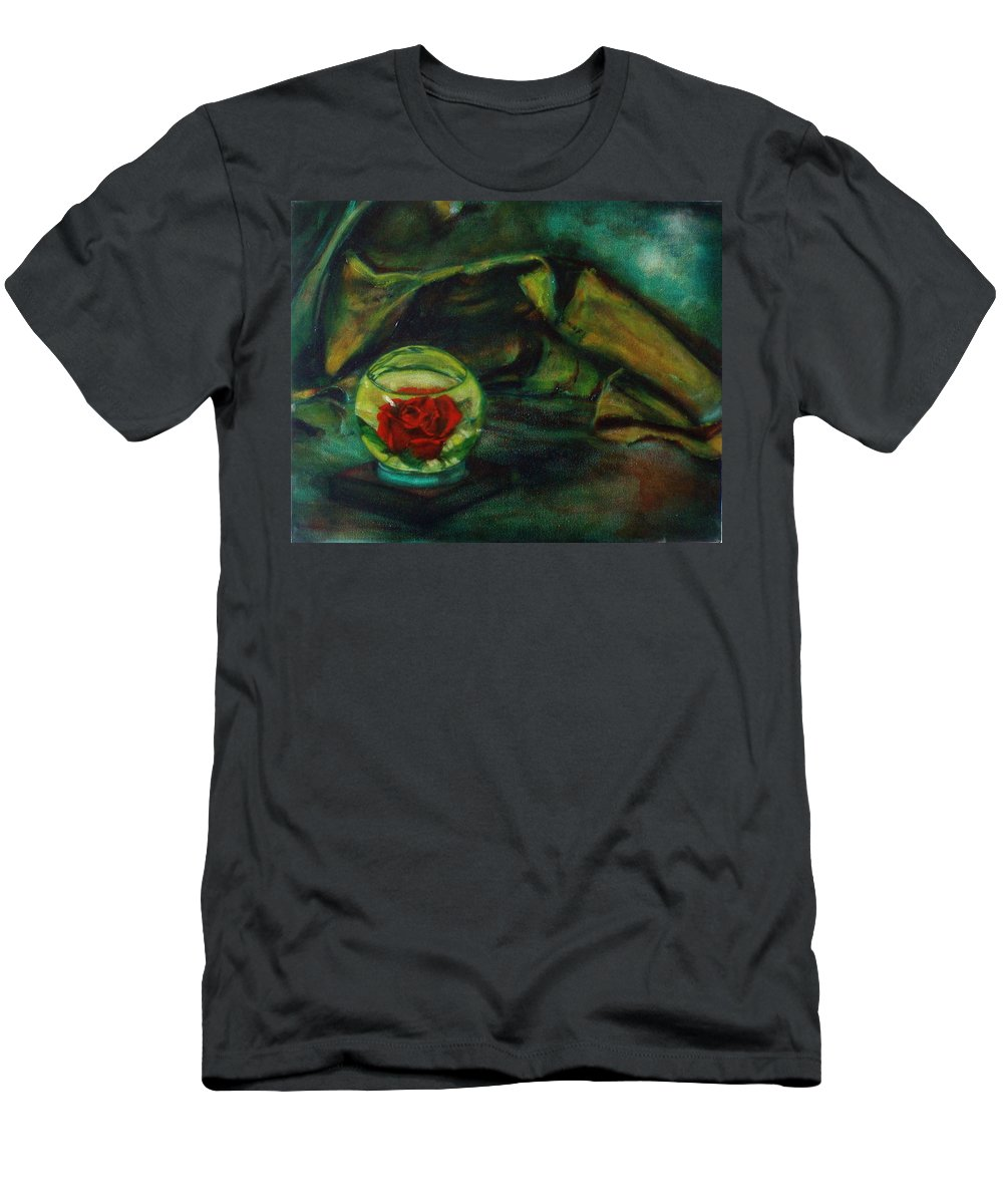 Still Life Men's T-Shirt (Athletic Fit) featuring the painting Preserved Rose . . Draped Canvas by Sean Connolly