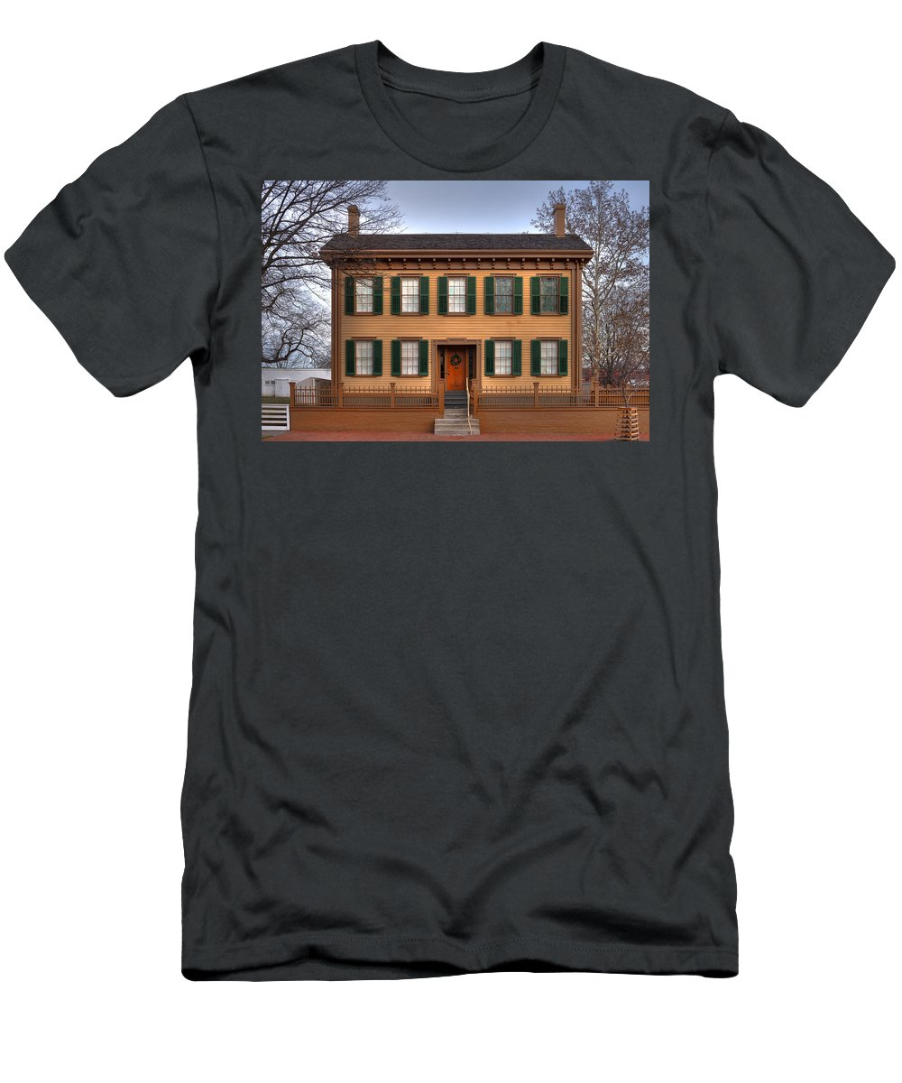 Abraham Men's T-Shirt (Athletic Fit) featuring the photograph President Lincoln Home Springfield Illinois by Steve Gadomski