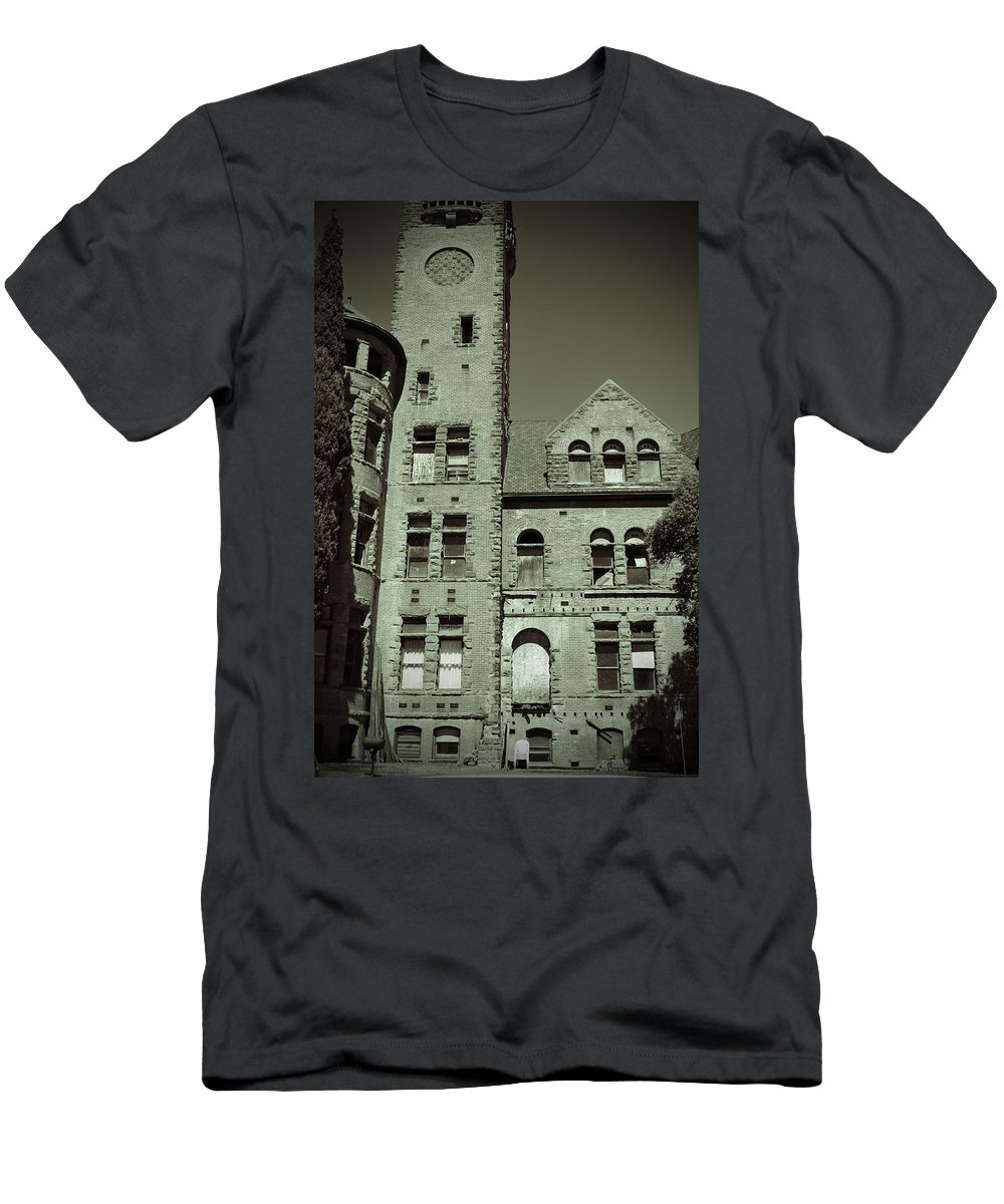 Building Men's T-Shirt (Athletic Fit) featuring the photograph Preston Castle Tower by Holly Blunkall