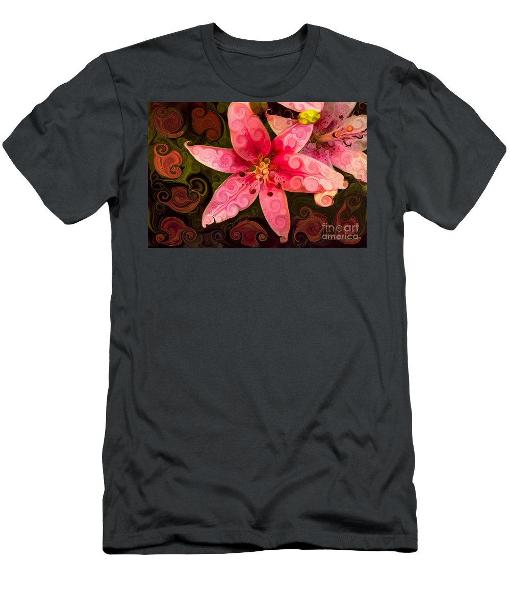 Bloom Men's T-Shirt (Athletic Fit) featuring the painting Pretty In Pink by Omaste Witkowski