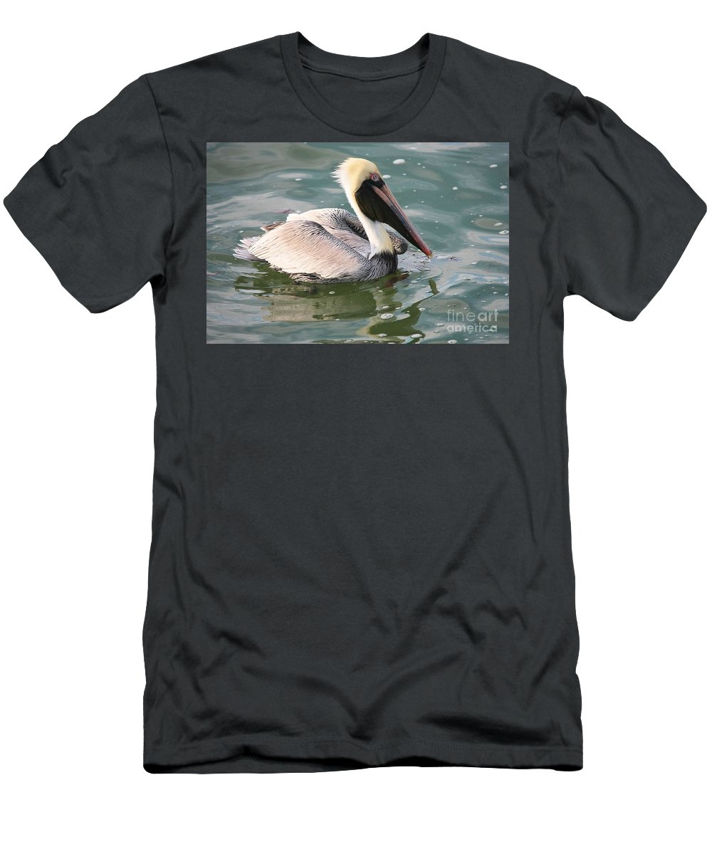 Pelican Men's T-Shirt (Athletic Fit) featuring the photograph Pretty Pelican In Pond by Carol Groenen