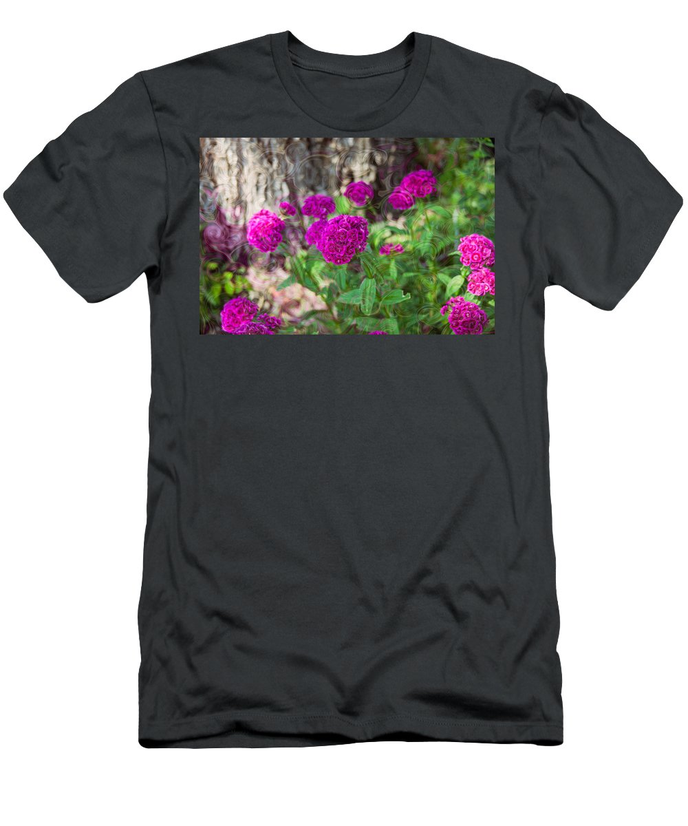 North Cascades Men's T-Shirt (Athletic Fit) featuring the painting Pretty Pink Petals by Omaste Witkowski