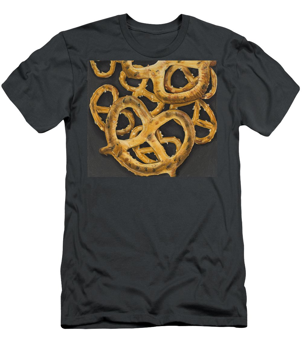 Food Men's T-Shirt (Athletic Fit) featuring the drawing Pretzels Study by Jennifer Hotai