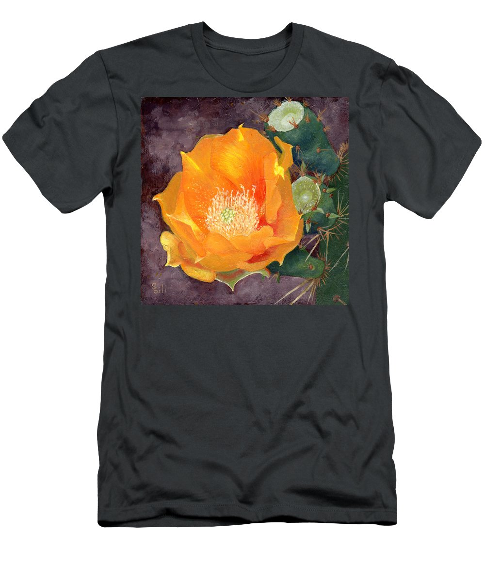 Nature Men's T-Shirt (Athletic Fit) featuring the painting Prickly Pear Blossom by Sue Sill
