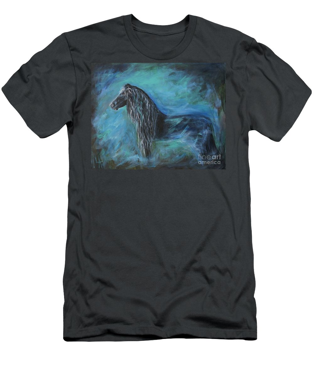 Horse Painting Men's T-Shirt (Athletic Fit) featuring the painting Pride Of Friesians by Leslie Allen