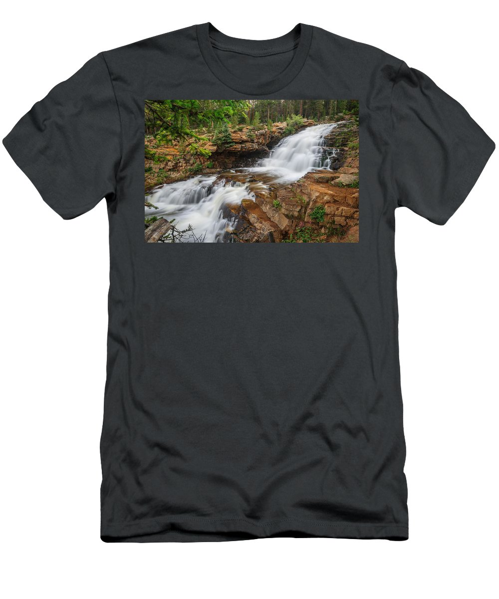 Gigimarie Men's T-Shirt (Athletic Fit) featuring the photograph Provo River Falls by Gina Herbert