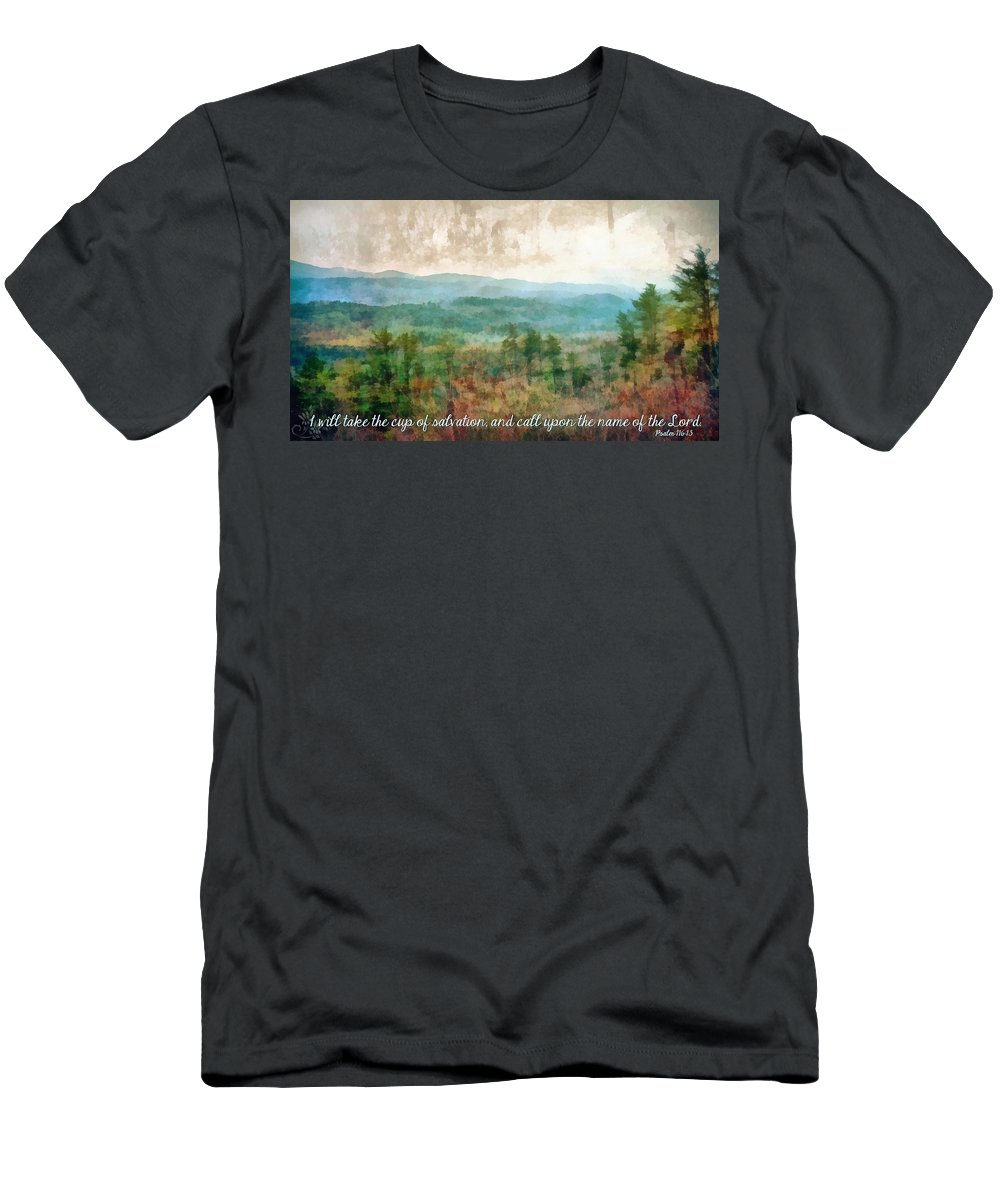 Jesus Men's T-Shirt (Athletic Fit) featuring the digital art Psalm 116 13 by Michelle Greene Wheeler