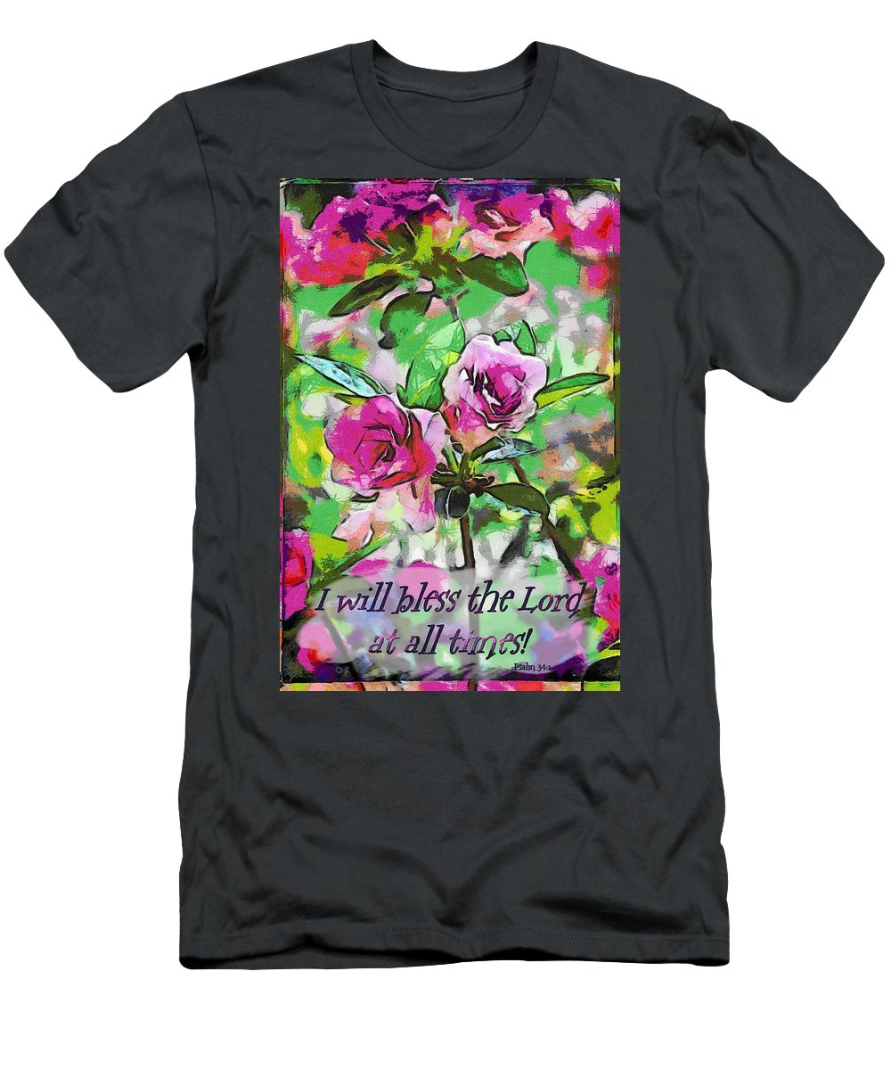 Jesus Men's T-Shirt (Athletic Fit) featuring the digital art Psalm 34 1 by Michelle Greene Wheeler
