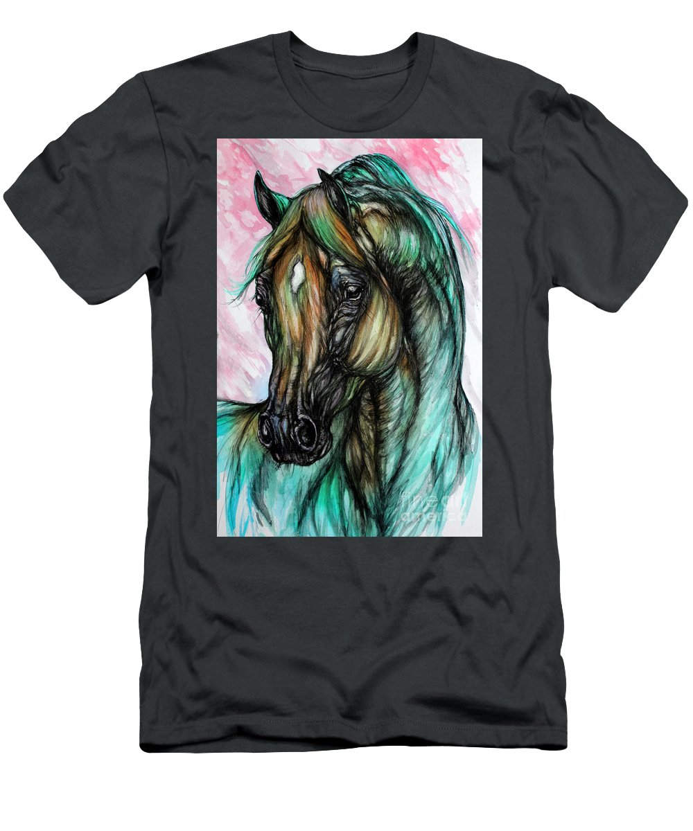Horse Men's T-Shirt (Athletic Fit) featuring the painting Psychodelic Pink And Green by Angel Ciesniarska