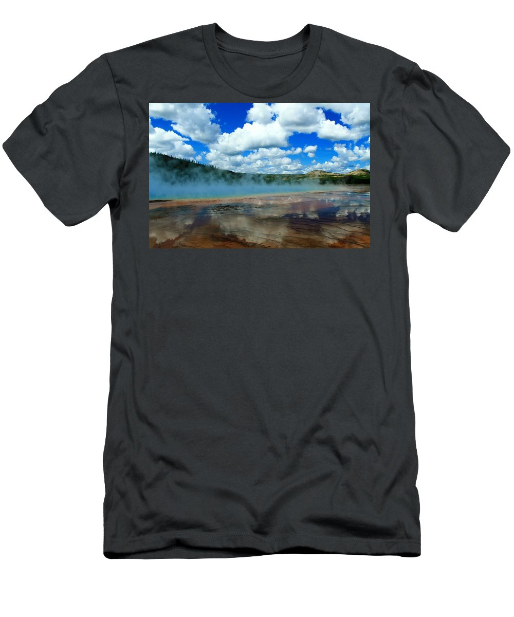Yellowstone National Park Men's T-Shirt (Athletic Fit) featuring the photograph Puffy Clouds And Hot Springs by Catie Canetti