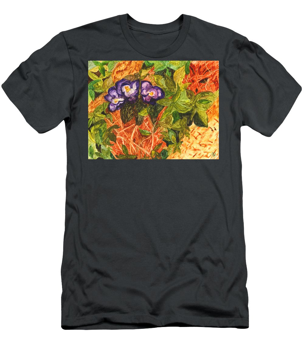 Flowers Men's T-Shirt (Athletic Fit) featuring the painting Purple Flowers by Phyllis Brady