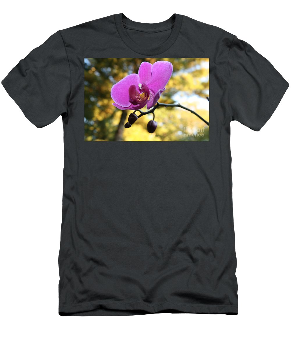 Purple Orchid Men's T-Shirt (Athletic Fit) featuring the photograph Purple Orchid In September Sun by Neal Eslinger