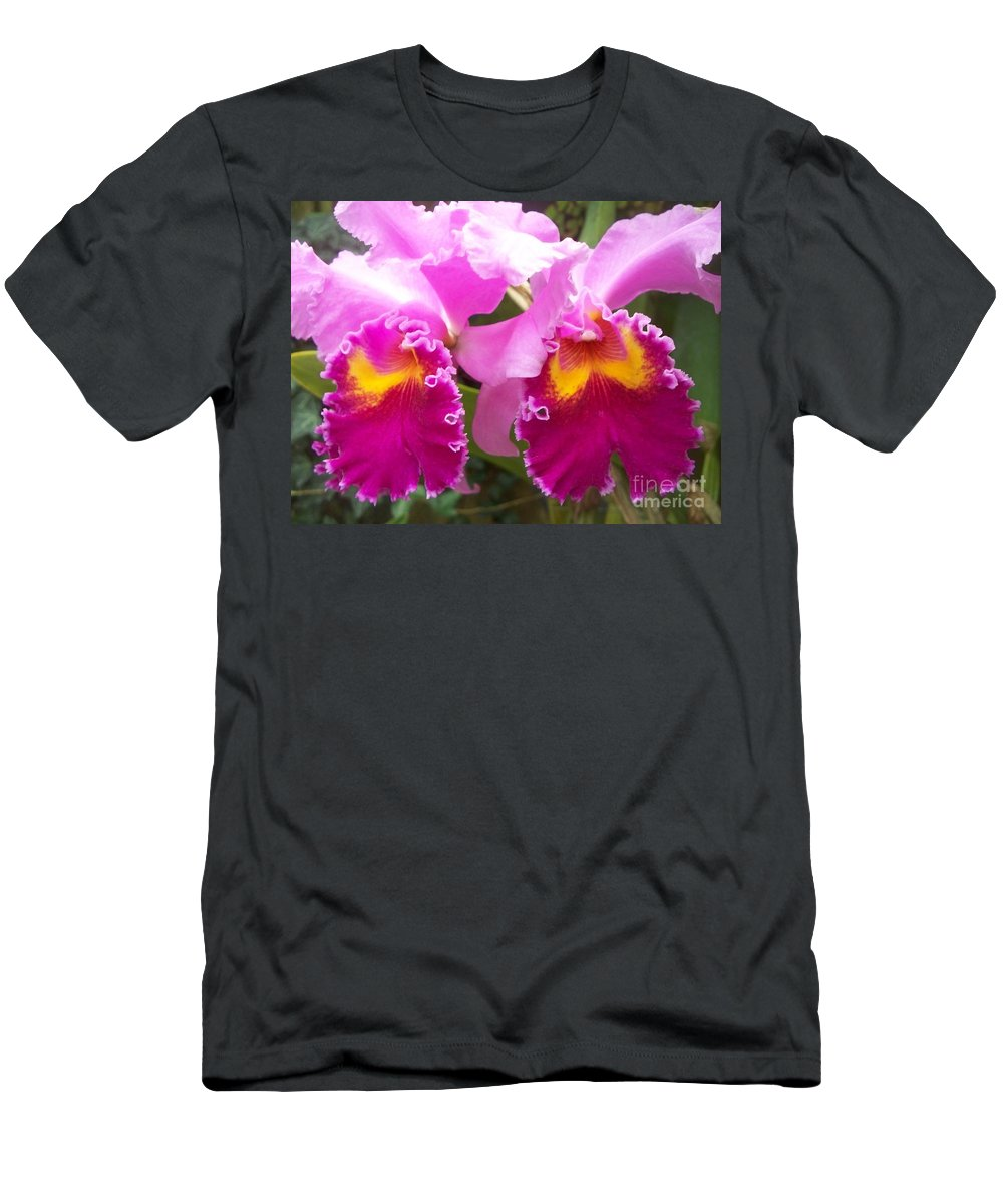 Floral Men's T-Shirt (Athletic Fit) featuring the photograph Purple Orchids by Eric Schiabor