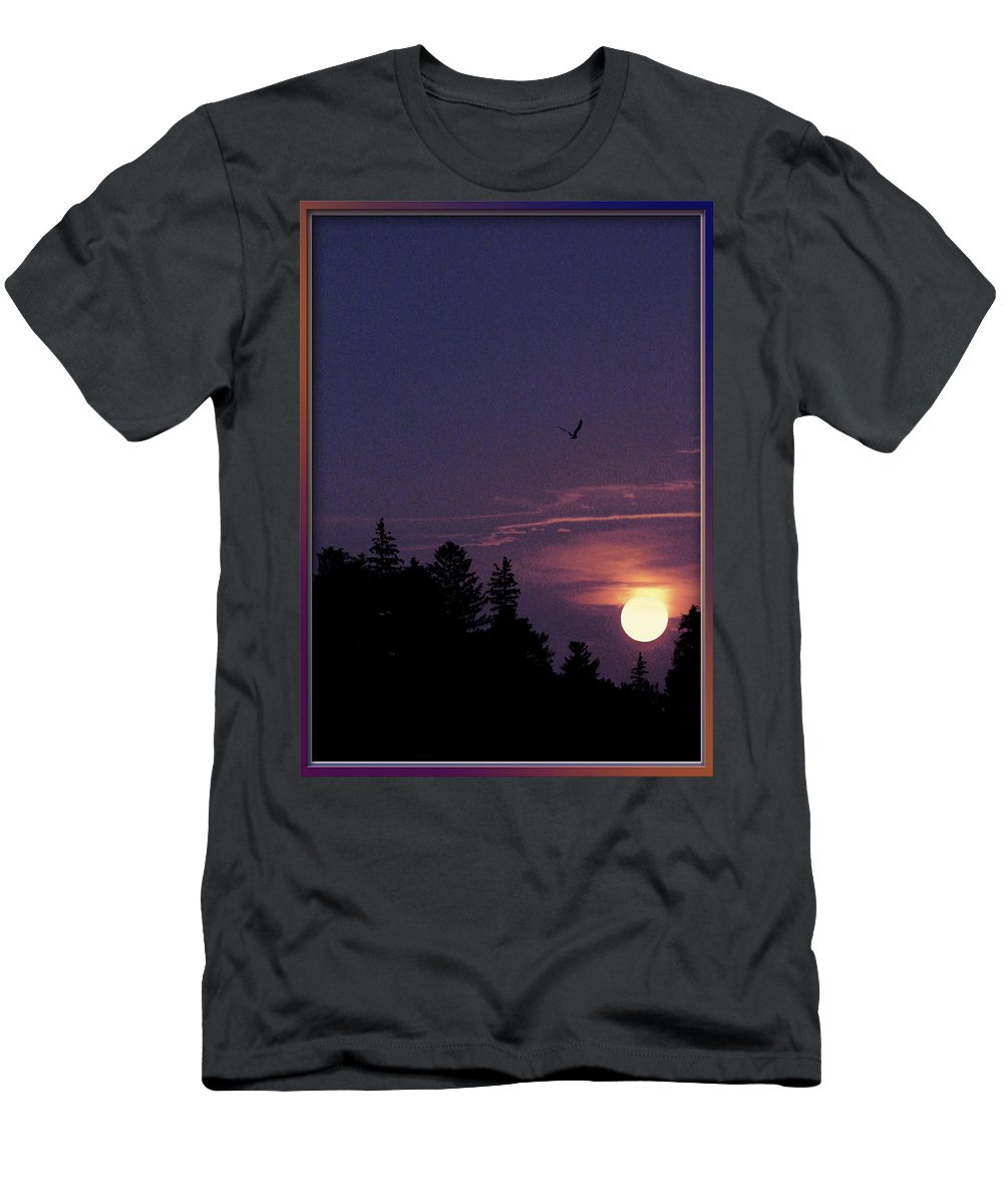 Purple Sunset With Forest Silhouette Men's T-Shirt (Athletic Fit) featuring the photograph Purple Sunset With Sea Gull by Peter v Quenter