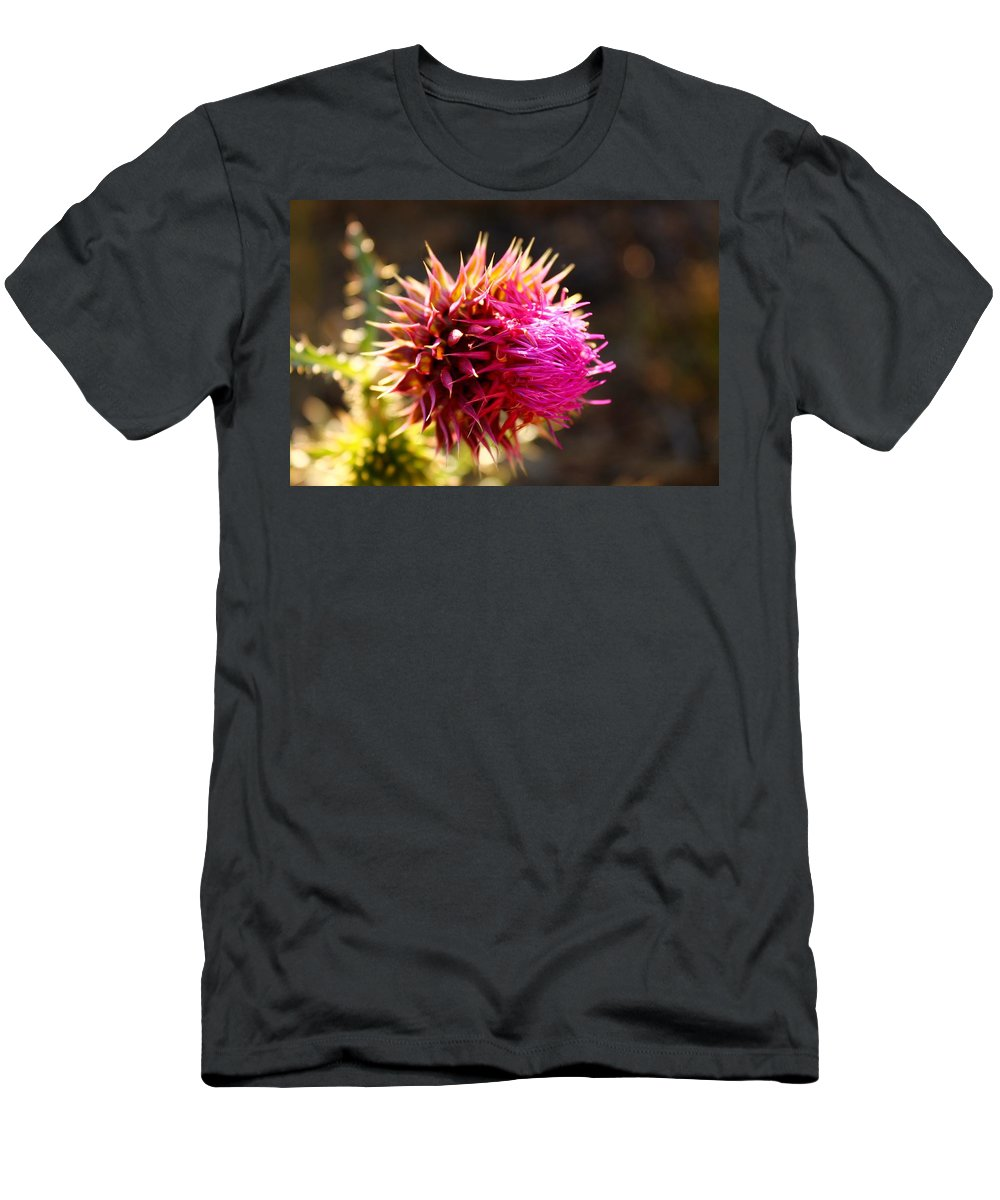 Thistle Plant Men's T-Shirt (Athletic Fit) featuring the photograph Purple Thistle by Catie Canetti