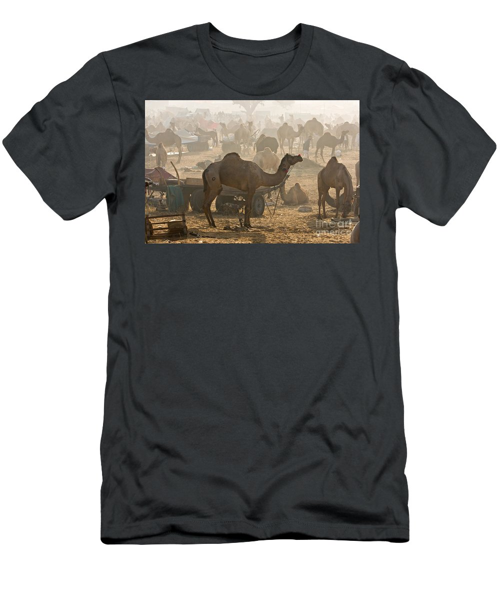 Unrecognizable Person Men's T-Shirt (Athletic Fit) featuring the photograph Pushkar Camel Fair - India by Luciano Mortula