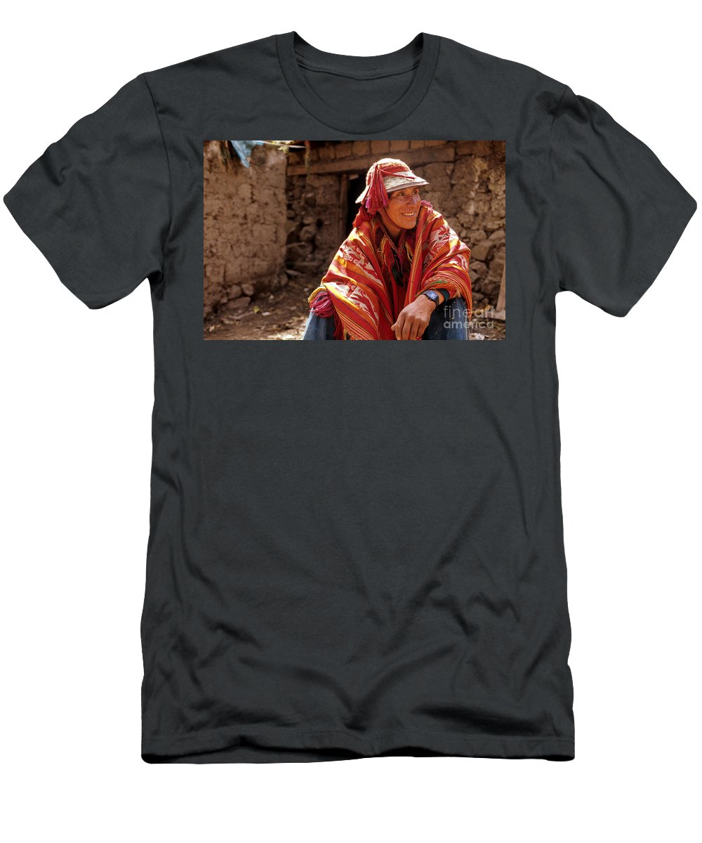 Aborigine Men's T-Shirt (Athletic Fit) featuring the photograph Quechua Man Sacred Valley Peru by Ryan Fox