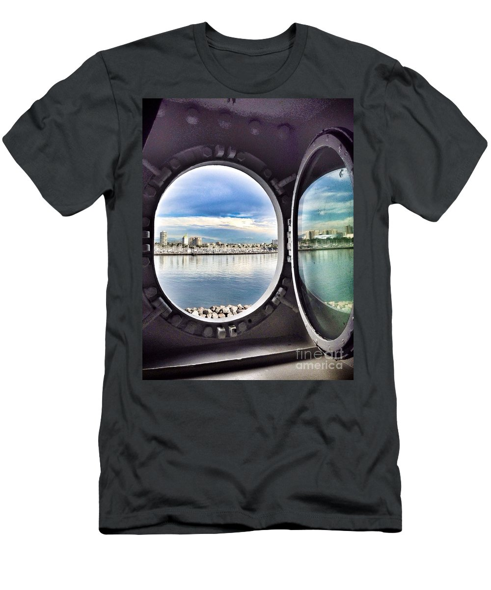Queen Mary State Room Port Hole View Men's T-Shirt (Athletic Fit) featuring the photograph Queen Mary Starboard View by Susan Garren